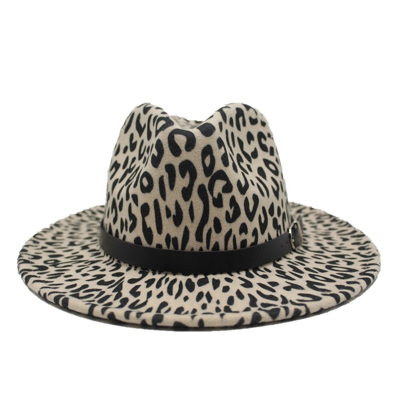 2019 new Trend Unisex Flat Brim Wool Felt Jazz Fedora Hats Men Women Leopard Grain Leather Band Decor Trilby Panama Formal Hats 3