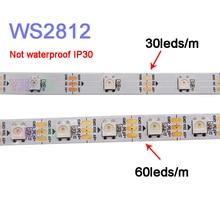 50m/lot WS2812B Smart pixel led strip light;DC5V 30/60 pixels/leds/m;WS2812 IC;IP30/IP65/IP67,Black/White PCB;led tape