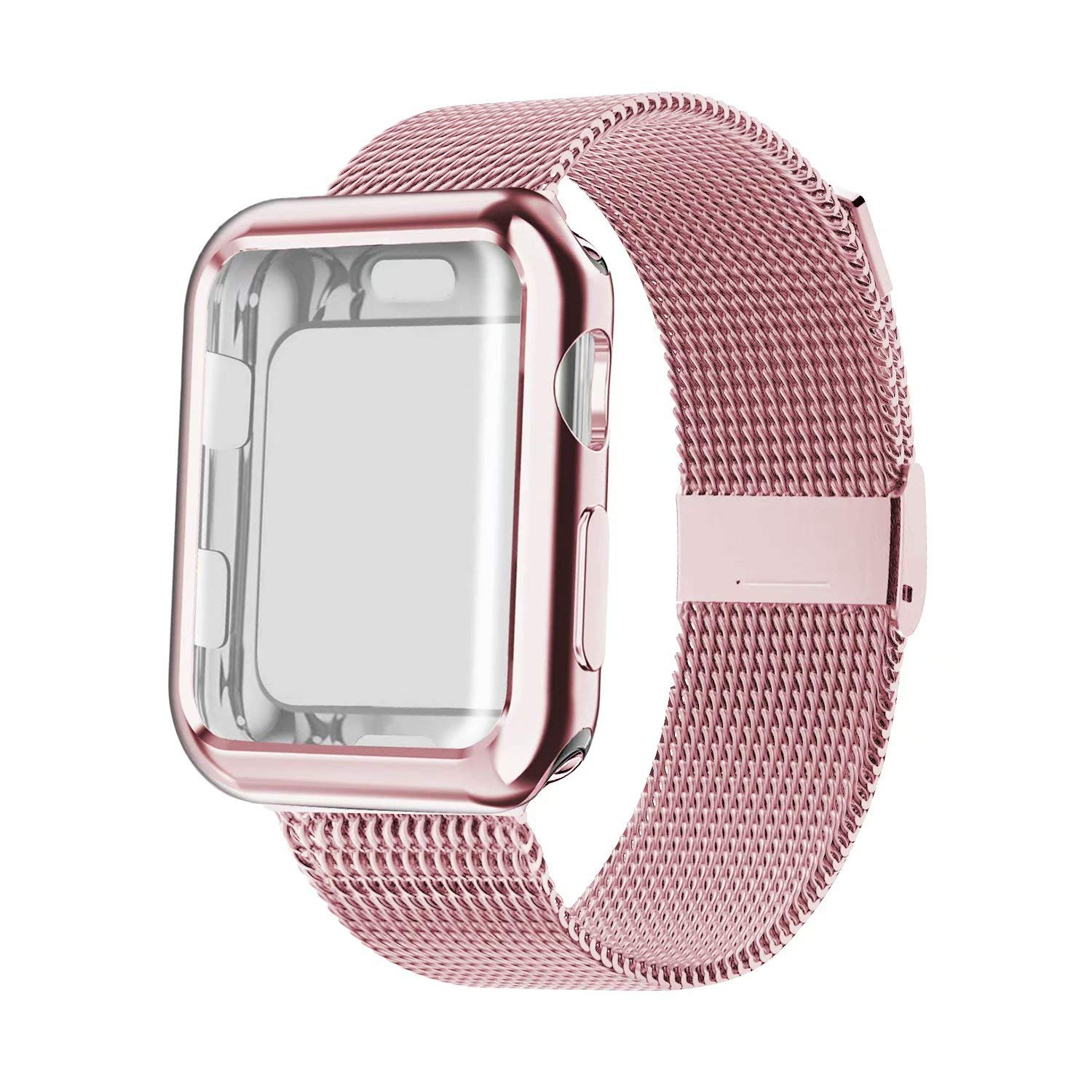 case+Strap for apple Watch 4 band Mlianese Loop band 42mm 38mm iwatch series 5 4 3 2 1 band 44mm 40mm correa pulseira bracelet image