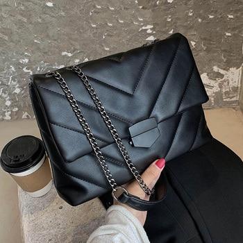 Bolso cruzado de cuero PU pequeño de hilo de bordado para mujeres 2020 bolso de mano de tendencia bolsos de hombro de moda para mujeres