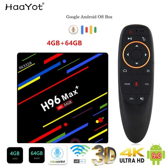 HAAYOT H96 MAX + Tvbox Android 9,0 4G 64G Smartbox Set Top Box RK3328 TV Box Google Control de voz/2,4/5G Wifi 4K Media Player