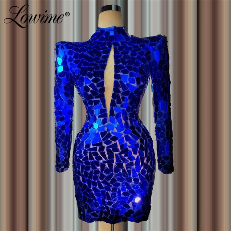 Short Kaftans Royal Blue Elegant Evening Dress Sheath Beaded Robe De Soiree Aibye Prom Dress Middle East Dubai Party Gowns 2020
