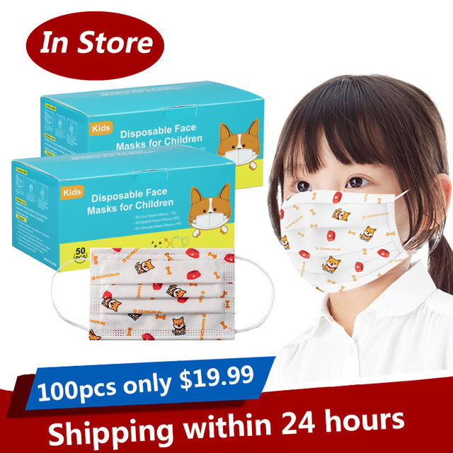 3-13 Years Old Children's 3 Layers Face Mask Kid Non-woven PP Face soft friendly Disposable Cartoon Printed Mask dropshipping