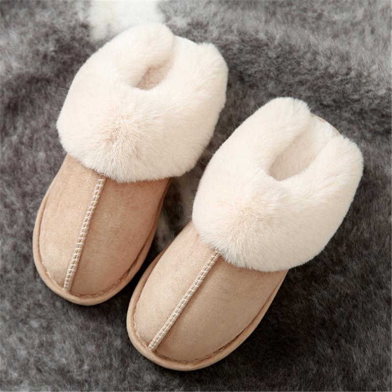 JIANBUDAN Plush warm Home flat slippers Lightweight soft comfortable winter slippers Women's cotton shoes Indoor plush slippers 1