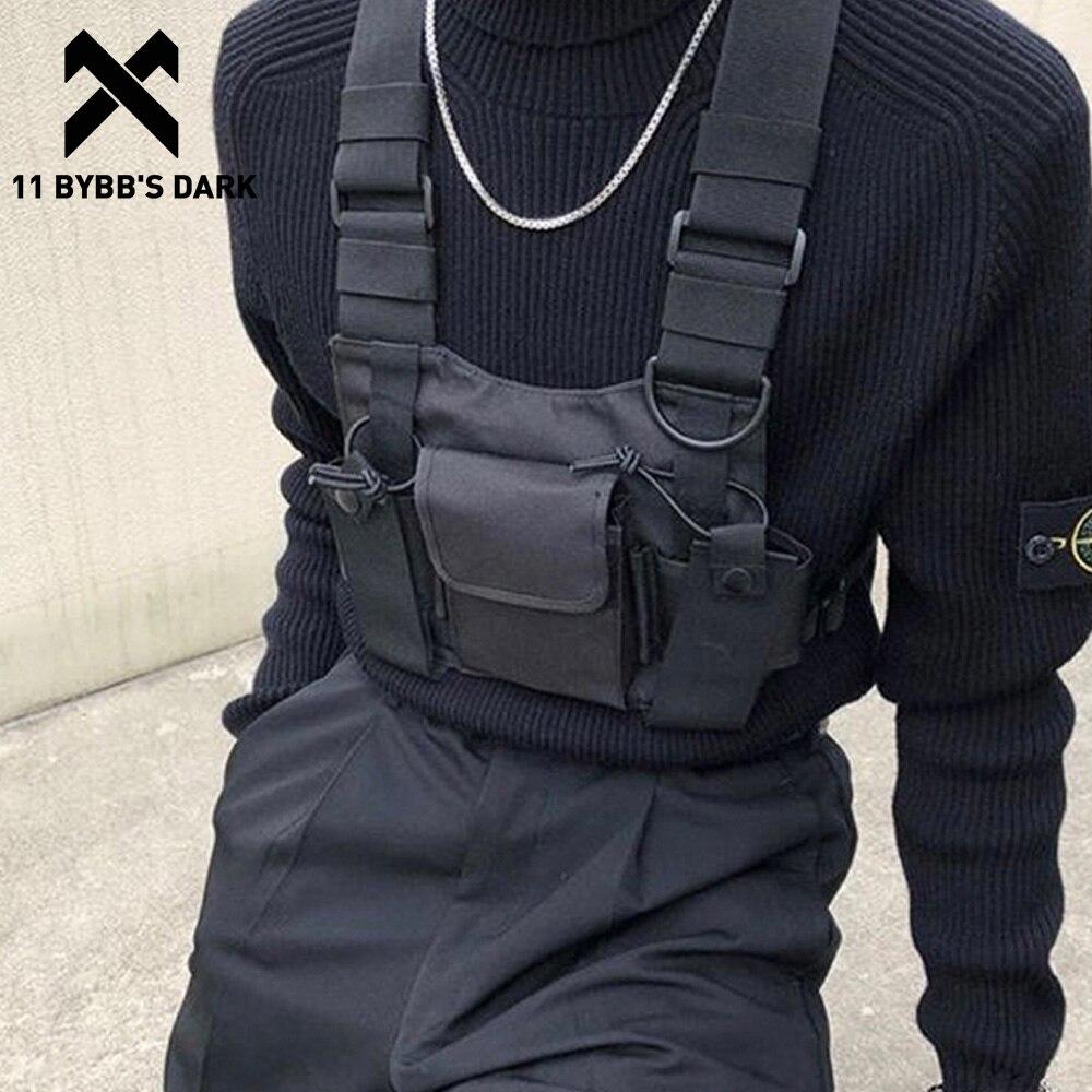 Bolsa de Ombro Bybb's Função Escura Tático Peito Bolsa Hip Hop Streetwear Masculino Funcional Cintura Bolsas Bolsos Ajustáveis 11