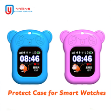 Portable Smart Watch Case for Q90 DF25 Q80 Q528 Silicon with Sling Cute Panda Anti-lost Protect Kids Baby