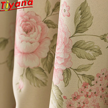 Pink Rose Printed Curtains for Living Room Yellow Fabric %70-90% Shading Blackout Curain Tulle WH070#40