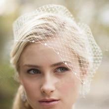 TULXWhite Face VeilS for The Bride Hair Accessories Wedding Black Ivory Crystal Beaded Net Birdcage Fascinator Elegant
