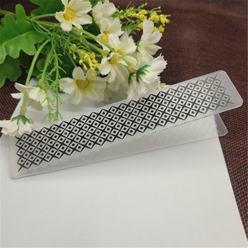 Diamond lattice Honeycomb geometric Plastic Embossing Folder For Scrapbook DIY Album Card Tool Plastic Template