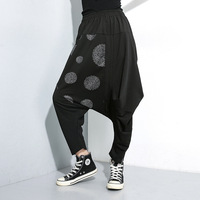 MEVGOHOT 2019 Fashion Women Black Dots Cross Pants Low Waist Loose Asymmetrical Streetwear Trousers Plus Size HA890