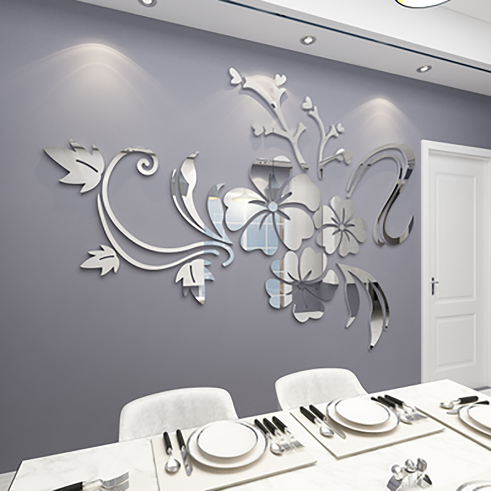 1 set Exquisite Flower <font><b>3D</b></font> Mirror <font><b>Wall</b></font> <font><b>Stickers</b></font> Removable Decal Art Mural Home Bedroom TV <font><b>acrylic</b></font> Background Decoration image