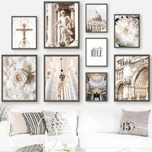 Flowers Rose Statue Church Italy Building Wall Art Canvas Painting Nordic Posters And Prints Wall Pictures For Living Room Decor