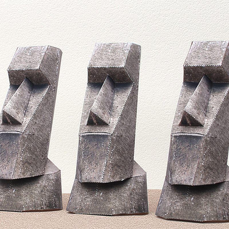 Moai Statues Easter Island 3Pcs Folding Cutting Mini 3D Paper Model Papercraft Architectural DIY Kids Adult Craft Toys QD-122