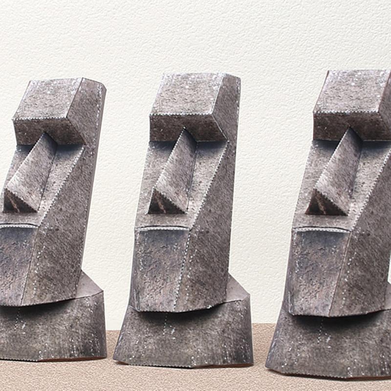Moai Statues Easter Island 3Pcs Folding Cutting Mini 3D Paper Model Papercraft Architectural DIY Kids Adult Craft Toys QD-122