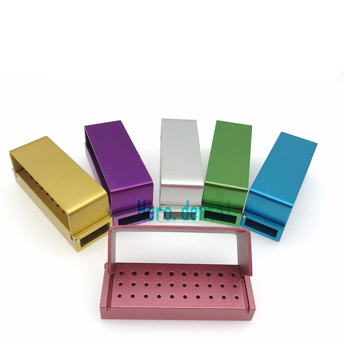 30Holes ALUMINIUM Dental Bur Burs Holder Block Dental Disinfection Box Autoclave