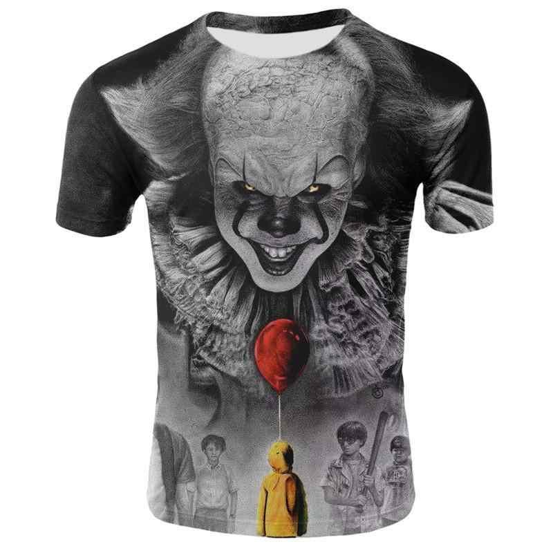 ホラー映画それペニー賢明ピエロジョーカー 3Dプリントtシャツ男性/女性ヒップホップtシャツtシャツ 90sボーイズ服トップス