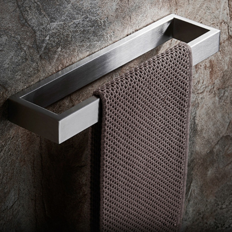 Wire-Drawing Towel Rack 304 Stainless Steel Bathroom Thickened Square Towel Bar Bathroom Single Bar Bathroom