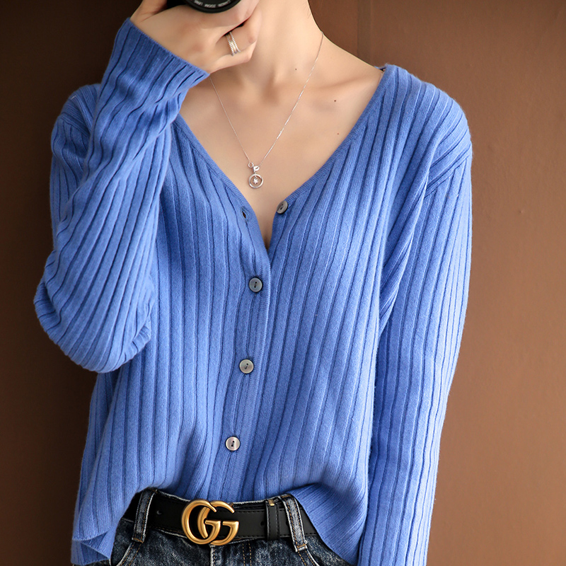 2020 New Spring Women Jackets 100% Wool Knitted Cardigans Female V-neck Long Sleeve Loose Sweaters Woolen Standard Clothes title=