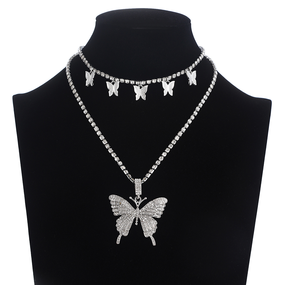 Luxury Butterfly Chain Choker Necklace Women Rhinestones Chains Butterfly Pendant Necklace Sparking...