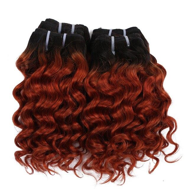 "Real Beauty 8"" Short Bob Style  Deep Wave  Ombre 1B/27 Remy Human Hair Bundles 50g Two Tone Honey Blonde Brazilian Hair Weave"