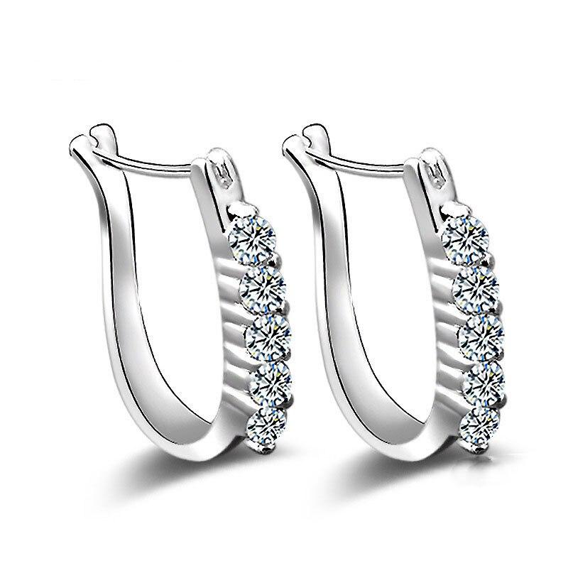 "Fashion silver color stud earrings luxury Rhinestone inlaid ""U""design ear buckle earrings women jewelry brincos(China)"