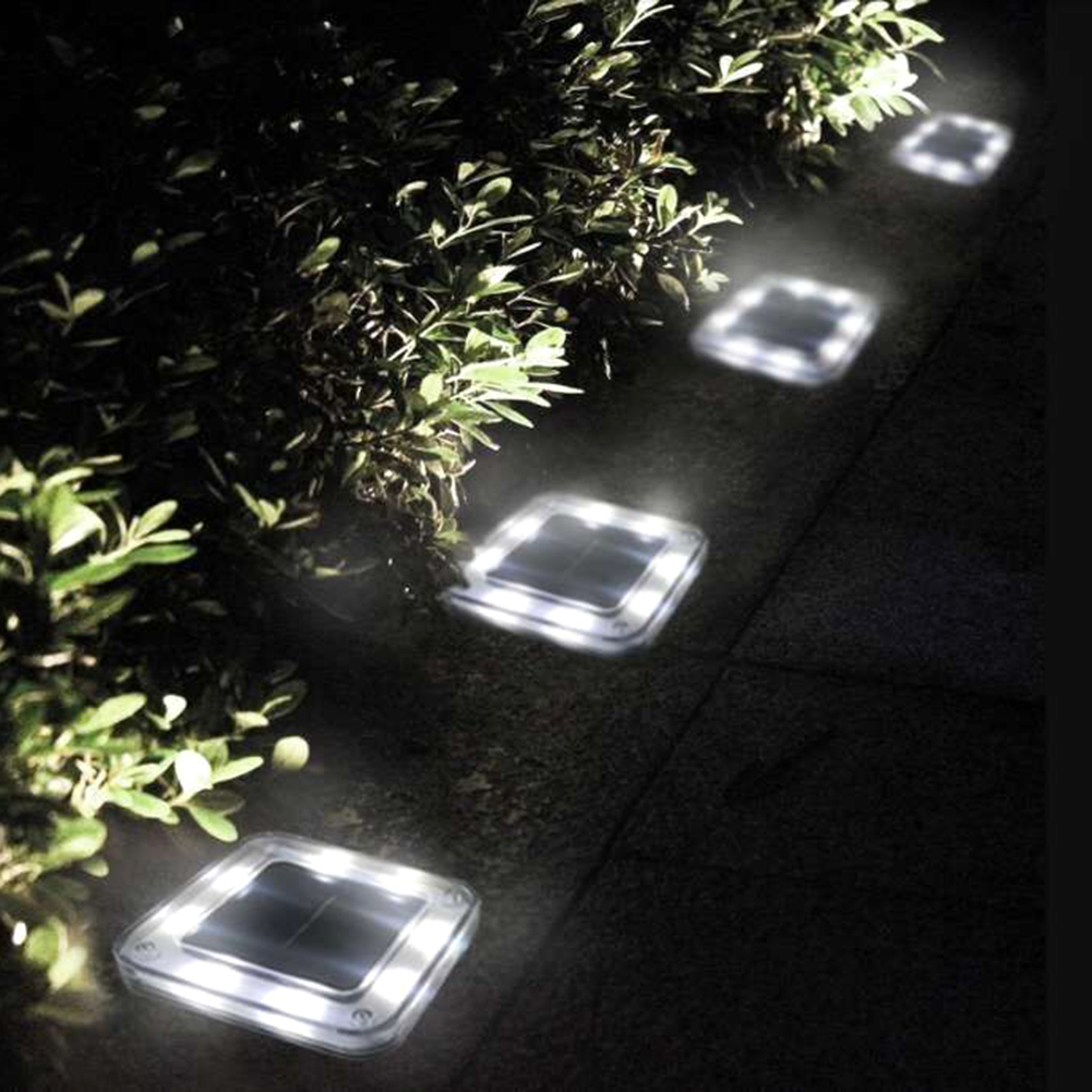 8 LED Square Solar Ground Light Outdoor Garden Path Floor Buried Lighting Lamp Garden Decking Yard Lawn Lamps