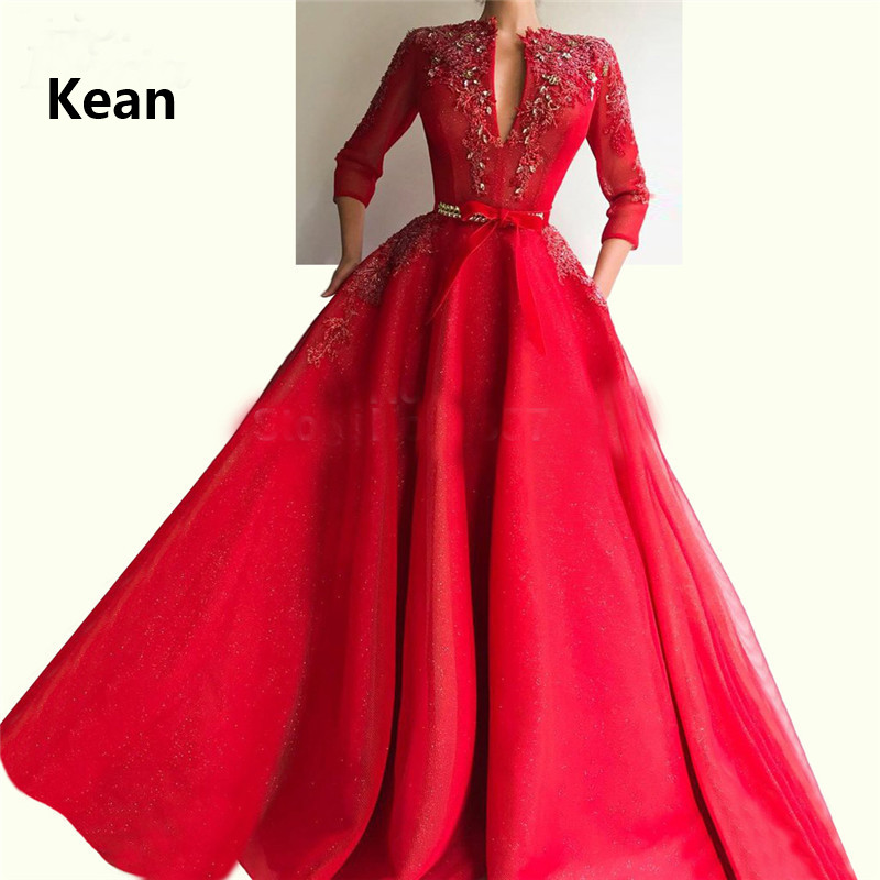 Red Muslim Evening Dress V-Neck Three Quarter Pocket Bead Robe Soiree Islamic Dubai Kaftan Saudi Arabic Evening Gown Prom Dress
