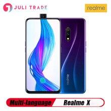 OPPO Realme X 4G LTE cep telefonu 8GB 128GB Snapdragon710 6.53 AMOLED 3765mAh 48MP parmak izi VOOC3.0 tipi C kilidi açılmamış akıllı telefon