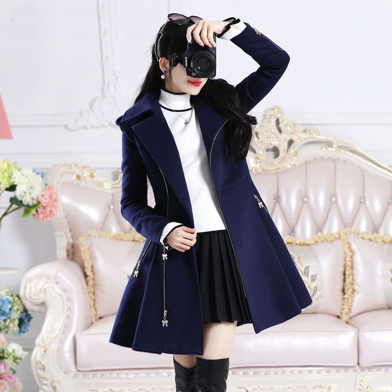 Women Coat Dark Blue Zipper Long-Sleeved Woolen Coat Women's Mid-Length Slim Winter Women