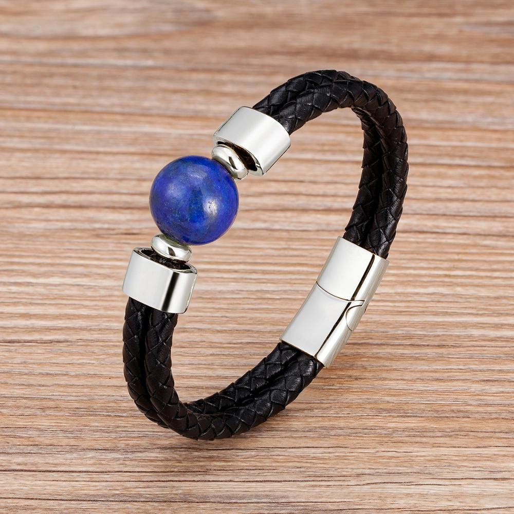 2020 Classic Double Genuine Leather Bracelet Natural Round Tiger Eye Stone Men Bracelets Stainless Steel Magnetic Mens Jewelry