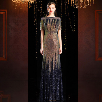 tailor shop dark gold sequin dress two tone dressgold navy gradient fish tail evening gown shimmering