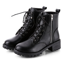 SAGACE botas de mujer botas negras ásperas de cuero Vintage tobillo corto vaquero motocicleta desnudo botas de moda Zapatos #45