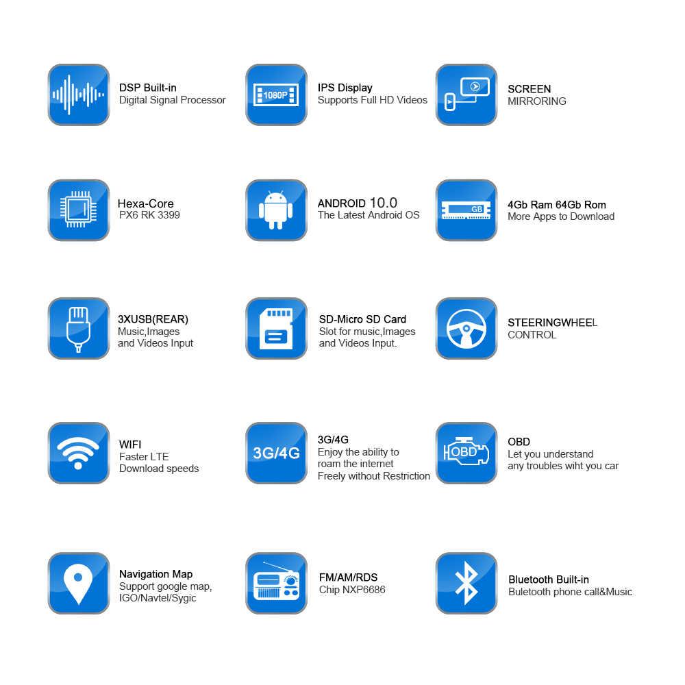 راديو سيارة يعمل بنظام أندرويد 10 مزود بنظام تحديد المواقع بمعيار دين رقم 2 لسيارة مازدا 6 أتينزا 2013 2014 2015 2016 PX6 DSP 2.5D شاشة IPS بمواصفات 4 جيجابايت + 64 جيجابايت HDMI RDS وwifi BT HD