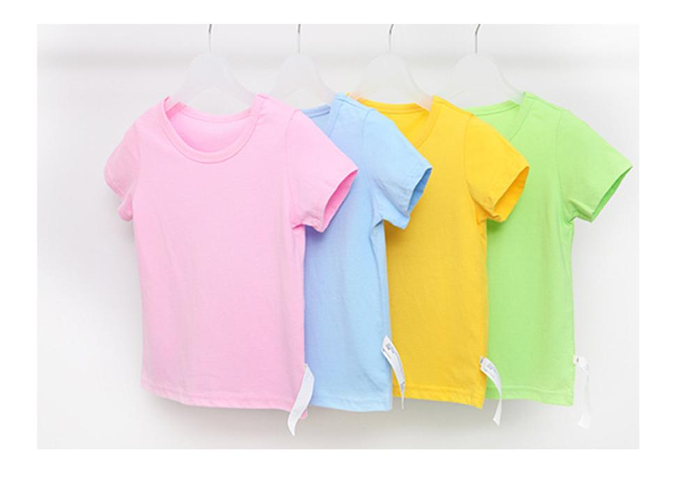 Kids Tops Baby Boys Girls Cotton Short Sleeve T-shirt Tees Girls Children Casual Candy Color Clothes Baby Boys Girls Tees 4018