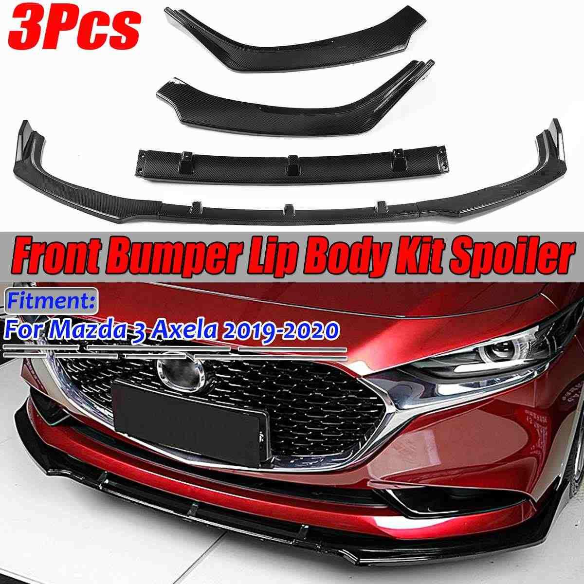 DSEB Difusor Spoiler Black//Carbon Look Front Lip Dipitter Splitter Kit De Cuerpo para Mazda 3 Limousine Axela 2019-2020,Glossy Black