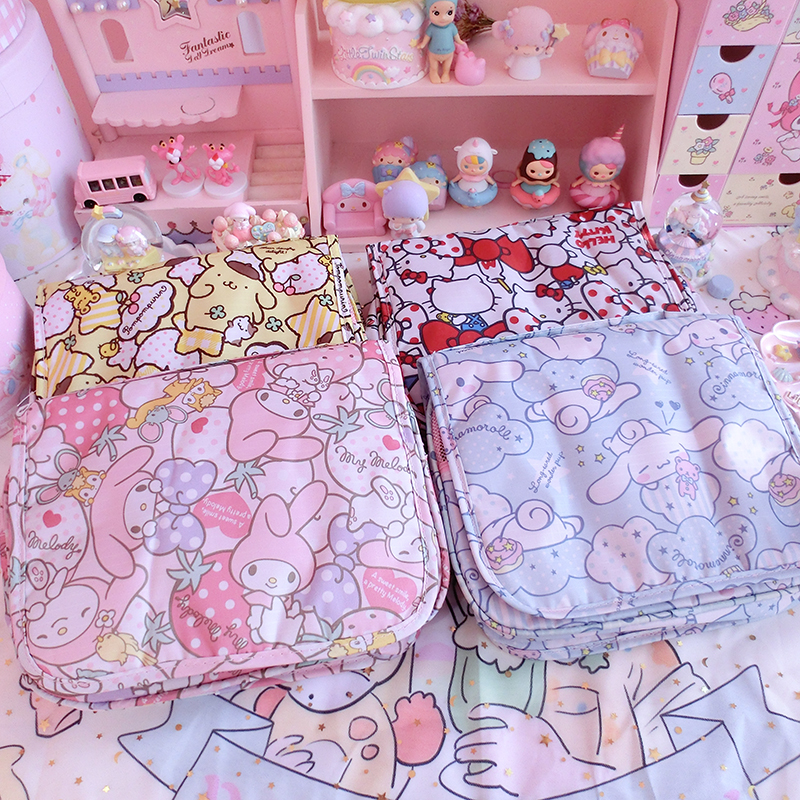 Cartoon Japan Hello Kitty My Melody Cinnamoroll Pompompurin Cosmetic Bags Women Storage Travel Pouch Wash Bags Girl Makeup Bags