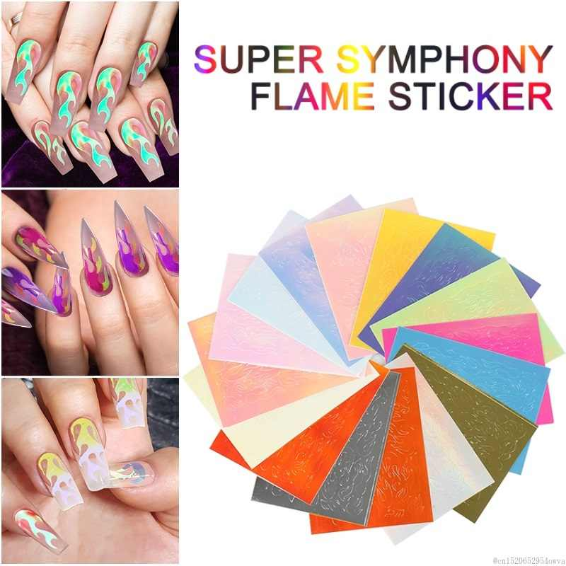 1pcs Holographic Fire Flame Nail Stencil Hollow Stickers Fires on Manicure Stencil Stickers Nail Wraps Nail Art Decoration