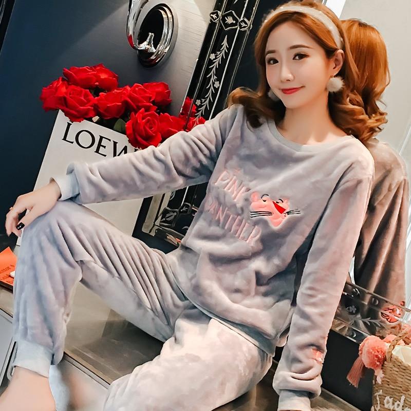 Special Price Autumn Winter Warm Women Pyjamas Sets Thick Coral Velvet Long Sleeve Cartoon Sleepwear Thin Flannel Pajamas Set 25