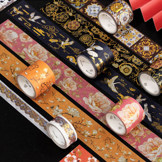 2pcs/lot Chinese Element Gold Foil Washi Tape Set Scrapbooking Sticker Label Masking Tape School Office Supply