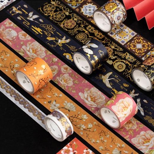 2pcs/lot Chinese Element Gold Foil Washi Tape Set Scrapbooking Sticker Label Masking Tape School Office Supply