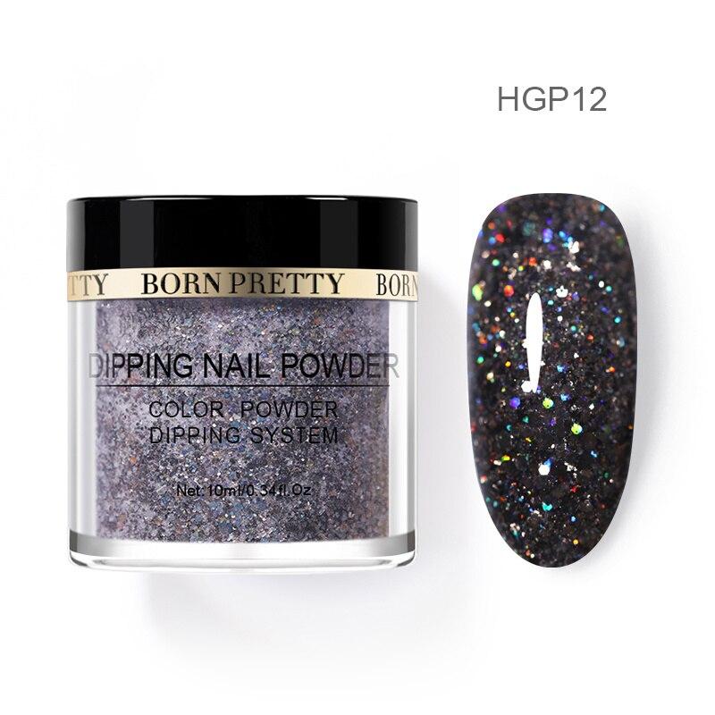 Born pretty, голографическая погружение порошки для ногтей градиент окунания блеск украшения длительным, чем УФ гель натуральный сухой без лампы лечения - Цвет: BP-HGP12