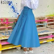 Skirts ZANZEA Plus-Size Solid-Robe High-Waist Fashion Women's Autum Lace-Up Vestidos
