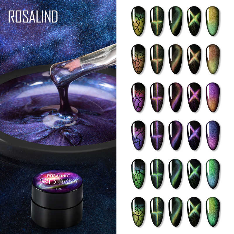 ROSALIND 9D Cat Eye Gel Nail Polish Nail art Magnetic manicure Set Semi Permanent Base top Nail gel Varnishes