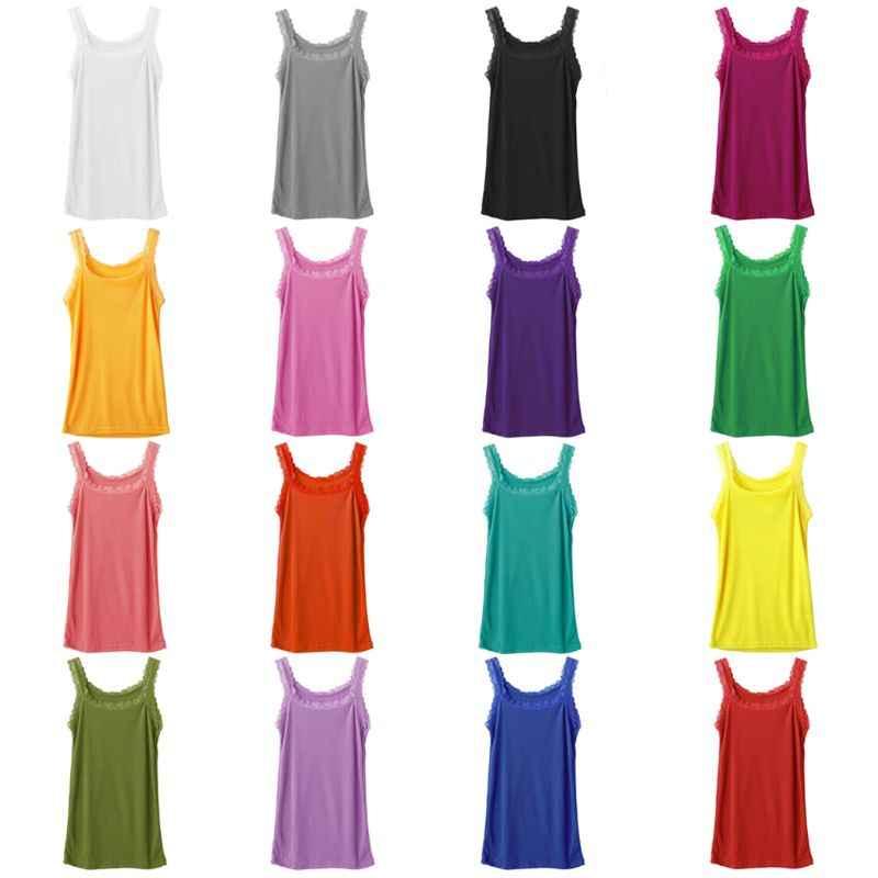 ผู้หญิงฤดูร้อนแขนกุด TOP แข็งสี Candy Basic Camisole Floral Lace Trim Ribbed ถักสบายๆชุดชั้นใน Slim Vest