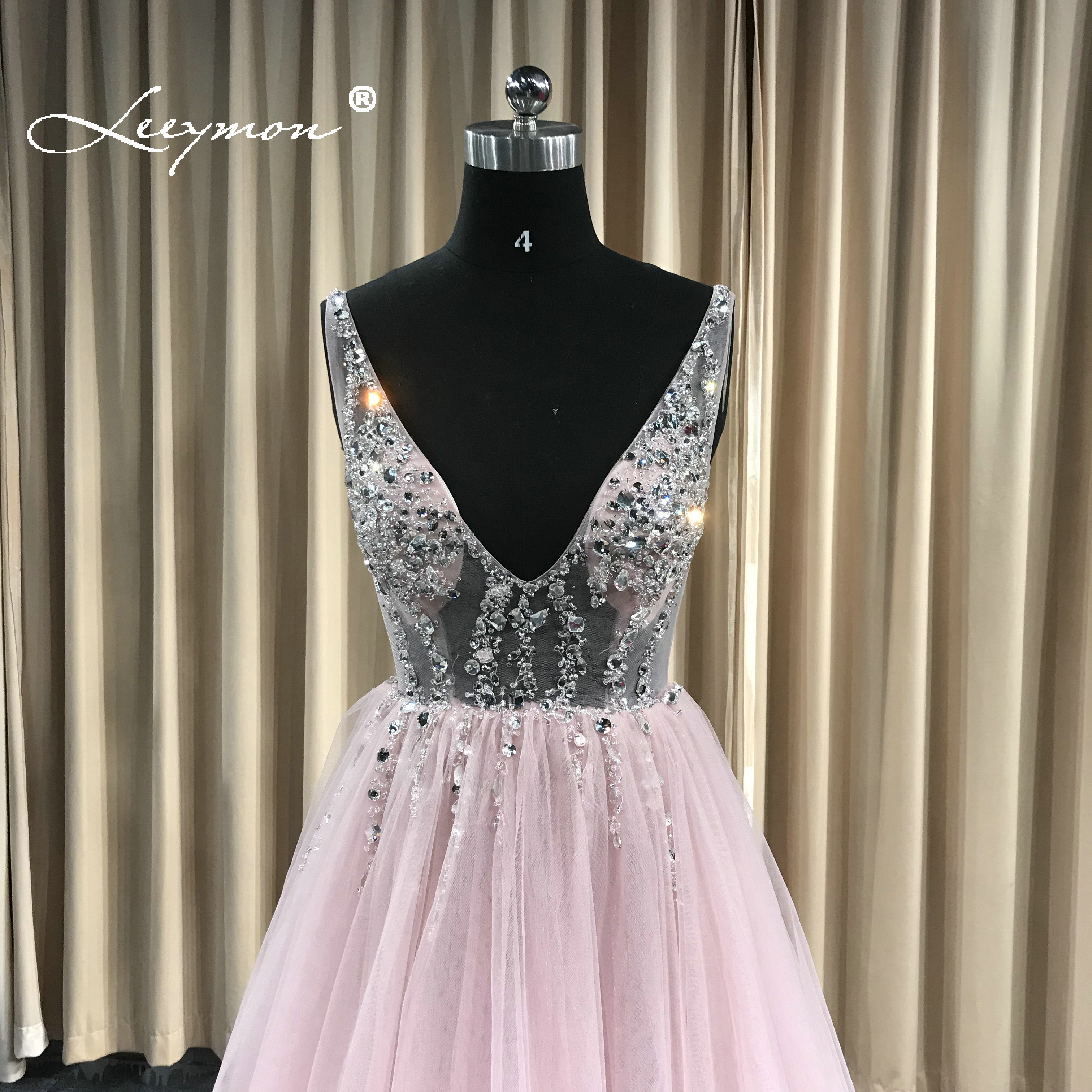 Купить с кэшбэком New Design Deep V Neck Tulle Evening dress 2020  Sparkly Crystals Sexy Prom Dress Open Back Robe de Soriee Custom Made