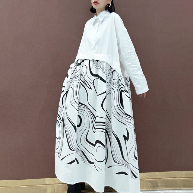 SHENGPLLAE Personality Printed Dress Women's Spring 2021 New Lapel Single Breasted Large Size Patchwork Fake Two Piece Dresses 3