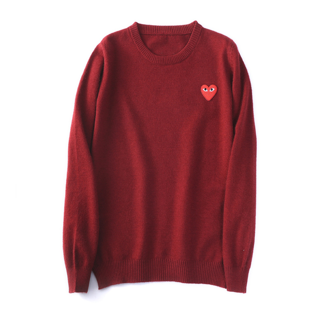 (have eyes)Wool Sweater CoupleLong sleeve Cashmere Pullover Menand Women Spring Autumn O-neck Sweater With Love Knitted Sweater 5