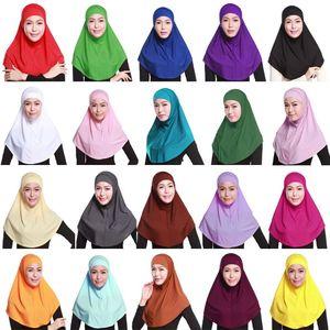 Image 1 - Женский однотонный мусульманский хиджаб Amira из 2 предметов, мягкий хлопковый эластичный головной шарф с внутренней трубкой, капюшон