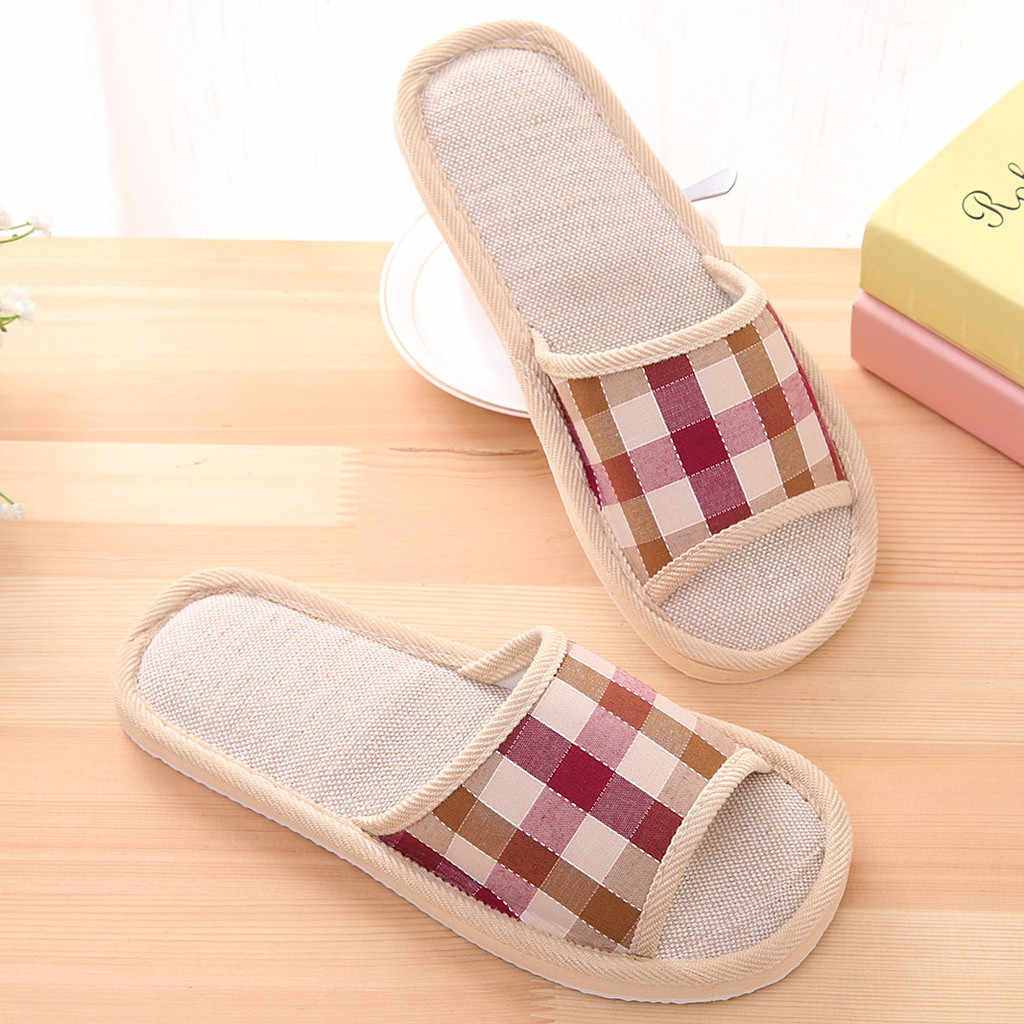 Couples Home Slippers Women Men Shoes Fashion Casual Couples Gingham Home Slippers Indoor Floor Flat Shoes  Autumn Leisure Shoe
