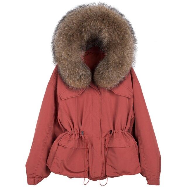 Janveny-manteau de duvet de plumes pour femme, énorme manteau en fourrure de raton laveur, Parka à capuche, hiver 2020 4